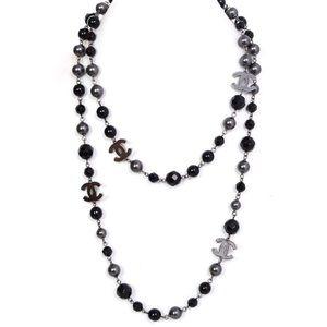 """Black 4 Gunmetal CC Coco Pearl Necklace 42"""" w box"""